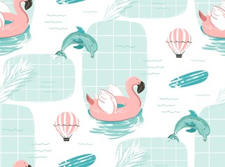 Hand drawn vector abstract cute summer time cartoon illustrations seamless pattern with pink flamingo float circle,surfboard and dolphins in blue ocean water background