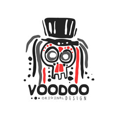 Original Voodoo magic logo template design with abstract skull with hair wearing hat. Religion and culture. Hand drawn mystical vector illustration