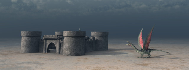 Mittelalterliche Burg und Drache