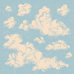 Engraved vintage clouds set. Ink illustration.