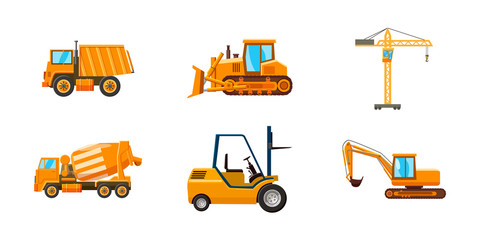 Contruction machine icon set, cartoon style