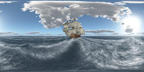 360 Grad Panorama mit der HMS Victory