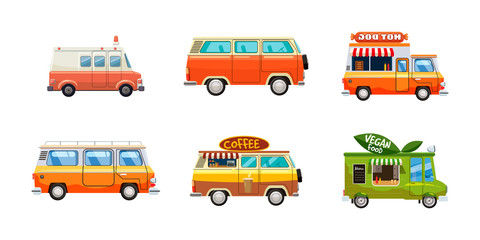 Minivan icon set, cartoon style