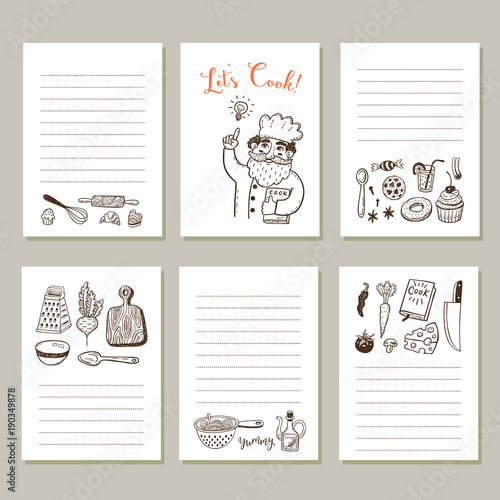 "Kitchen Layout Notes: ""Page Template Set For Notes Or Cooking Recipe Cards With"