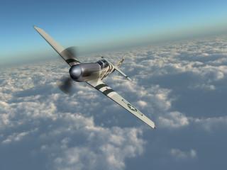 Amerikanisches Jagdflugzeug aus dem Zweiten Weltkrieg über den Wolken