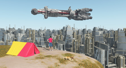 Weltenbummler, Großstadt und riesiges Raumschiff