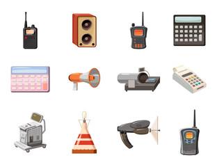 Electric device icon set, cartoon style