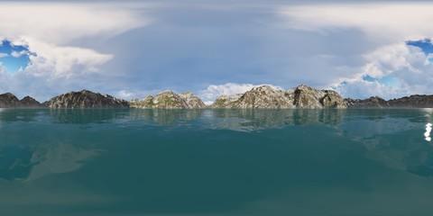 Panorama 360° con cielo blu su lago in montagna