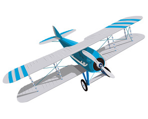 Biplane with blue and white coating. Model aircraft propeller with two wings. Plane from World War. Old retro aircraft. Jet designed for poster printing. Beautifully drawn vector flying biplane.