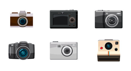 Camera icon set, cartoon style