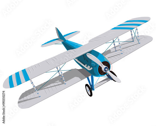 Biplane with blue and white coating  Model aircraft