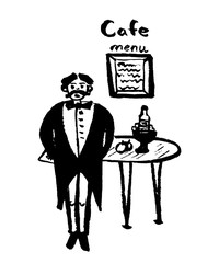 drawing image waiter in dress coat and in butterfly covers on table in cafe, sketch by hand drawn comic vector illustration