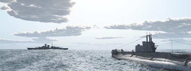 Britisches Unterseeboot und deutsches Schlachtschiff aus dem Zweiten Weltkrieg