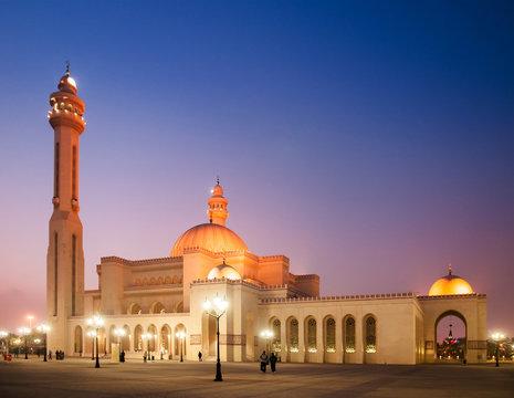 Exterior of Al Fateh grand mosque in evening.  Manama, Bahrain