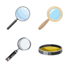 Magnify glass icon set, cartoon style