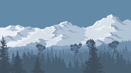 Illustration of winter coniferous forest with snowy mountains.