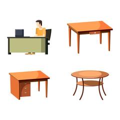 Table icon set, cartoon style