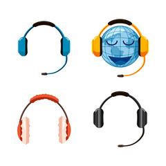Headset icon set, cartoon style