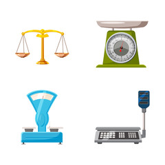 Weighing icon set, cartoon style