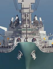 Amerikanisches Schlachtschiff aus dem Zweiten Weltkrieg, Vorderansicht