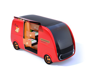Red self-driving pizza delivery van isolated on white background. 3D rendering image.