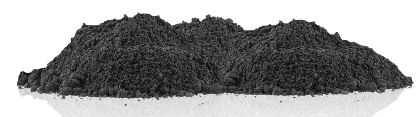butte de terre noire, fond blanc