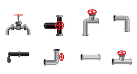 Pipe icon set, cartoon style