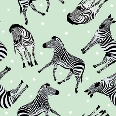 Sketch Seamless pattern with wild animal zebra print, silhouette on white background. Vector illustrations. Wild African animals.