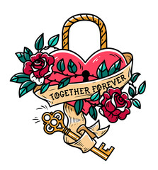 Heart shaped lock. Tattoo heart under lock and key. Together forever. Heart entwined in climbing rose tattoo. Old school