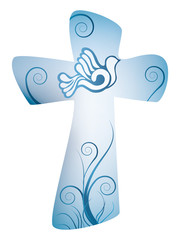 Cross christian symbol with dove