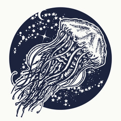 Jellyfish tattoo and t-shirt design. Jellyfish floats in deep space. Symbol of wandering, deep sea, travel, meditation