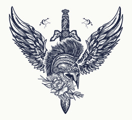 Ancient soldier, spartan warrior tattoo. Ancient Rome and ancient Greece t-shirt design. Swords, rose and angel wings. Symbol of bravery, fight, hero and army