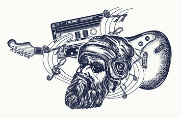 Bearded man, guitar and audio cassette tattoo and t-shirt design. Electro guitar and music notes rock, symbol of hard rock, punk music, rock and roll art