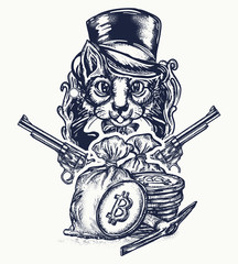 Cat robber tattoo. Сat gentleman with revolvers plunders cryptocurrency and bitcoins. Noble cat robber of banks tattoo and t-shirt design. Hacking and darknet symbol