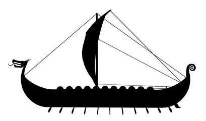 Silhouette eines Wikingerschiffes