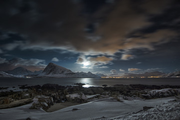 Mountain landscape, Napp, Flakstad, Nordland, Norway
