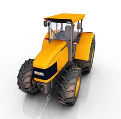 Traktor vor einem weißen Hintergrund