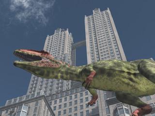Dinosaurier Giganotosaurus vor einem Wolkenkratzer