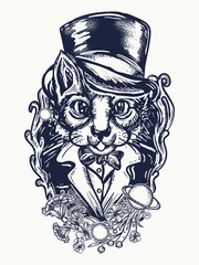 Cat gentleman tattoo and t-shirt design. Fashionable space cat in a retro jacket and art nouveau flowers tattoo