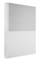 Grey book isolated on white, thin paper cover