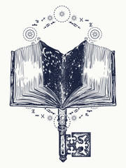 Open magic book and vintage key tattoo and t-shirt design. Books and key to knowledge. Symbol of wisdom, lives and death, education, literatures, poetry, reading. Open book art tattoo