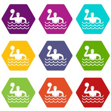 Water polo icon set color hexahedron