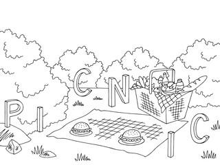 Picnic basket graphic black white landscape sketch illustration vector