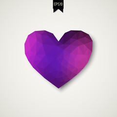 Vector purple heart of triangles in low poly style with shadow and badge. Vector illustration. All isolated and layered