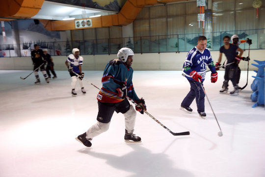 Member of Kenya's ice hockey team skates during a practice session in East Africa's only ice rink in Nairobi