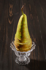 pear conference on a dark wooden rustic background