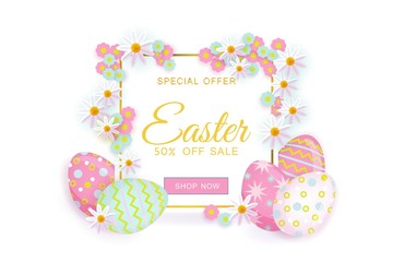 vector easter holiday poster with spring festive elements - decorated eggs, daisy flowers for your design with free space for text. Illustration white background.