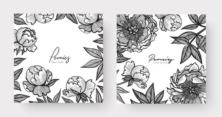 Graphic detailed frame with peony flowers and leaves. Two design templates for overlay your text, call-to-action, print, web design, stationery, promo, headline, invitations, or greetings cards