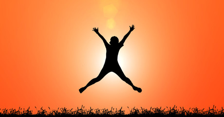 Silhouette woman jumping for joy and happiness on sunset