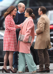 Britain's Prince William and Catherine, the Duchess of Cambridge arrive at The Karolinska Institute  accompanied by Sweden's Crown Princess Victoria and Prince Daniel, in Stockholm
